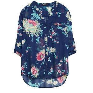 KFTK Sinclaire Floral Print Button-Up Blouse